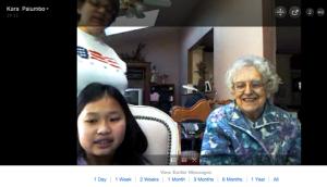 Nancy Satkovich, 91, on Skype with daughter, Janice, and granddaughter, Kara.