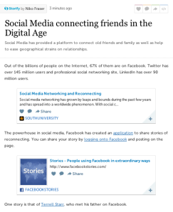 Storify about social media connecting friends and family.